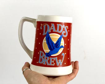 Vintage Dad's Brew Ceramic Beer Stein, Duck Mug