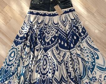 Mandala tapestry full circle maxi skirt on vintage denim waistband