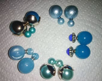 Blue turquise pearl double sided earrings