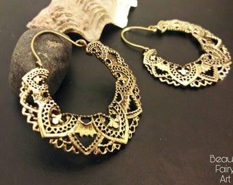Brass earrings,hoop earrings,Hoops,boho earrings,round earrings,Ethnic earrings,indian hoop,tribal large earrings,loop earrin,Party hoop