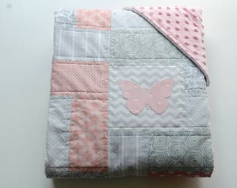 Butterfly baby quilt with minky backing, and hand sewn appliqués - butterfly theme - Pink - Gray - White - Modern - Homemade
