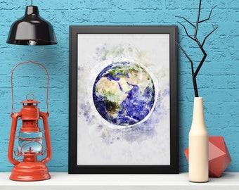 Earth Print, Earth Watercolor, Planet Print, Earth Wall Art, Instant Download, Earth Printable Art, Planet Wall Art, Planet Earth Art