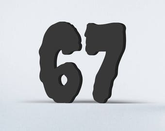 Flat Cut Acrylic House Numbers - Creepster