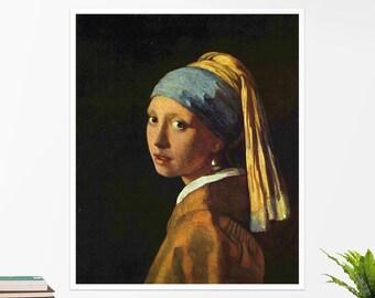 "Johannes Vermeer, ""Girl with a Pearl Earring"". Art poster, art print, rolled canvas, art canvas, wall art, wall decor"