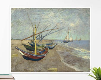 "Vincent Van Gogh, ""Fishing Boats"". Art poster, art print, rolled canvas, art canvas, wall art, wall decor"