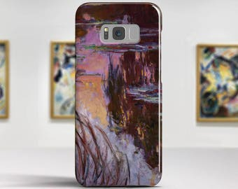 """Claude Monet, """"Water-Lilies, Setting Sun"""". Samsung Galaxy S8 Case LG V30 case Google Pixel Case Galaxy J7 2017 Case and more."""