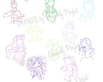 Disney princess line art cutting file svg png