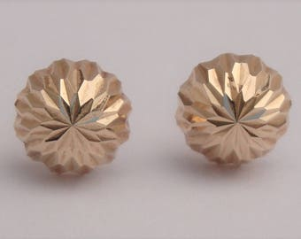 Sparkly Vintage Gold Stud Earrings 14k