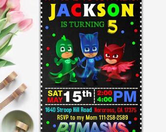 Pj Masks Invitation, Pj Masks Birthday Invitation, Pj Masks Party, Pj Masks Invite, Pj Masks Printable, Pj Masks Download, Pj Masks Digital