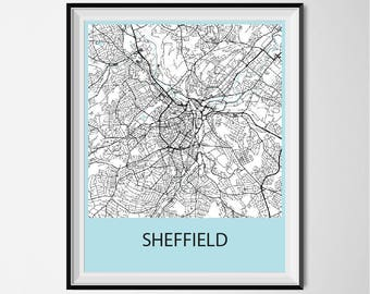 Sheffield Map Poster Print - Black and White