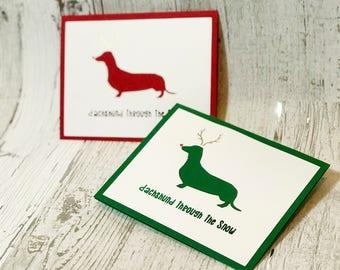 Dachshund Through The Snow Christmas Card   Dachshund Christmas Card