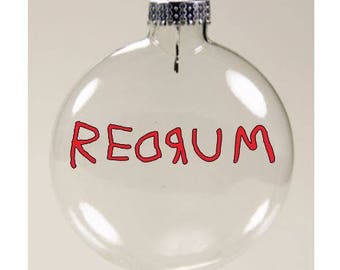 Redrum The Shining Christmas Ornament Glass Disc Holiday Horror Black Friday Merch Massacre
