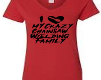 Chainsaw Family Crazy Ladies V Neck T Shirt Clothes Many Sizes Colors Custom Horror Halloween Merch Massacre