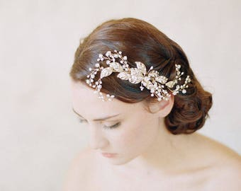Gold crystal and pearl bridal hair comb