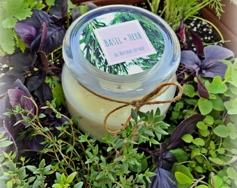 Soy Wax Candle | Basil + Herb | Kitchen Decor | 8oz