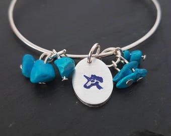 Unicorn bangle, Unicorn bracelet, Unicorn gift, Unicorn jewellery, hand stamped jewellery