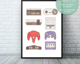 Nintendo Wall Art video game art | etsy