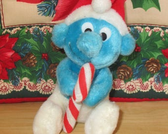 "Vintage Christmas Ornament - Vintage Smurf, 6"" Plush Peyo Smurf 1982, Santa Cap and Candycane, Christmas Toy, Christmas Decor"