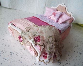 1/12 Scale Silk Dressed French Style Double Bed