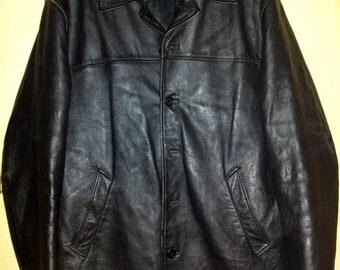 Lee Cooper - Black Winter Leather jacket / coat, size L