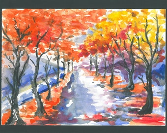 Fall watercolour painting