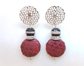 Handmade earrings, gemstone earrings, dangling earrings, red earrings, leather, gift for woman, Christmas gift, anniversary