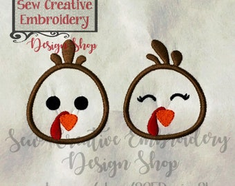 Turkey Face Applique Set, Thanksgiving Embroidery Design, Turkey Applique, Girl Boy Embroidery- Machine Embroidery Files - Digital Download