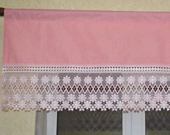 Pink curtain with lace, Pink Valance, pink curtains, Pink window valance, Curtains top, Kitchen valance, Сafe curtains, Kitchen curtains