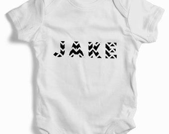 Personalised chevron baby grow (bodysuit)