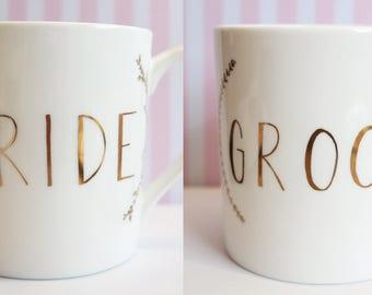 Mr & Mrs mugs | Bride Groom mugs | Wedding Gift set