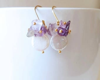 Coin pearl earrings with amethyst