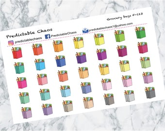 Grocery Bag Stickers, planner stickers
