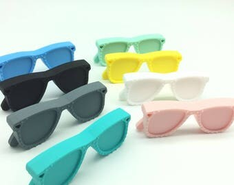 10 pcs Sunglass Baby Teether Silicone Sunglass/ BPA Free Teether Safe for Baby - For Necklace/Bracelet