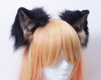 Black Wolf Fur Ears Headband