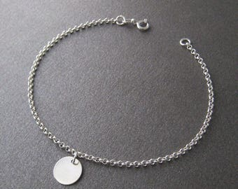Bracelet round coin charm Silver 925/1000
