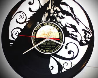 """Wall clock """"Horse"""" made from vinyl records"""