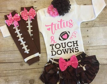 Baby Girl Football, Girls Football Outfit, Baby Football, Pink Football, Coming home outfit, girls take home outfit, Super Bowl outfit