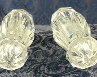 Vintage Clear Crystal Glass Salt & Pepper Shakers