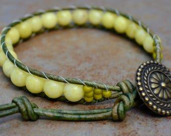 Peridot Jasper Single Wrap Leather Bracelet