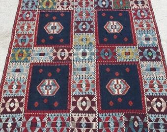 Turkish Vintage Rug,Area Rug, Office Decor,Oushak Kilim Rug,4x6feet,home living,fashion rug,etsy rug,Pastel Colors,Boho Rug,Home Decor Rug,