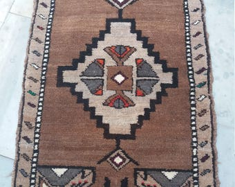 "Small Rug,Vintage Rug,Turkish Rug,Oushak Rug, 1'9""×3'1""Ft,Home Living,Vintage Oushak Rug,Naturel Wool Small Rug, Area Rug,Fashion Rug,Rugs"