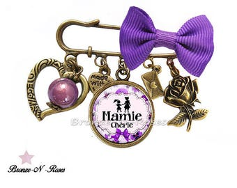 """Dear Grandma"" gift costume jewelry pin celebrating great grandmothers purple"