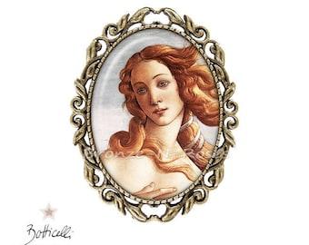The birth of Venus Sandro Botticelli bronze-n-pink Brown bronze cabochon pin