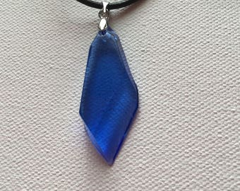 Blue Crystal Resin Pendant Necklace
