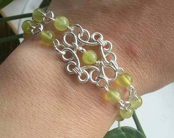 Handmade silver plated high quality wire with natural Olive Jade semi precious gemstones bracelet
