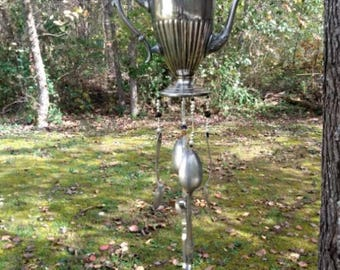Silver-plated teapot chime - black and white pearl