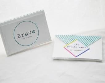 "Set of 3 cards + 3 envelopes origami green ""Bravo"""