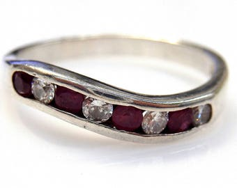 Sterling Silver Round Rubies and Cubic Zirconia Band Ring