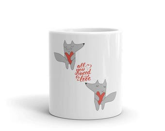 Valentine day Mug | Valentine's Day Mug | Cute Mugs | Funny Mugs | Contemporary Mugs | Coffee Mug | Valentine Quote | Cute Fox