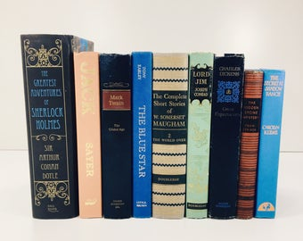 Lot of 9 Vintage Antique Books Decorative Mysteries Blues Greens Hardcover Library Cabin Decor Airbnb Book Bundle Design Staging